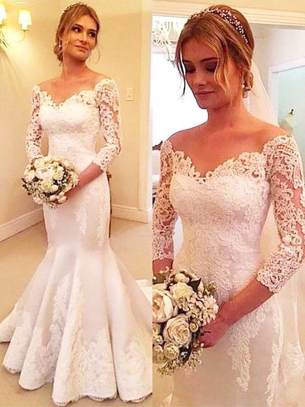 Mermaid 3/4 Sleeves Satin Off-the-Shoulder Lace Long Wedding Dress