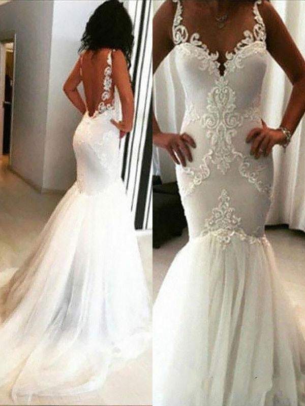 Mermaid Long Spaghetti Straps Tulle Wedding Dress