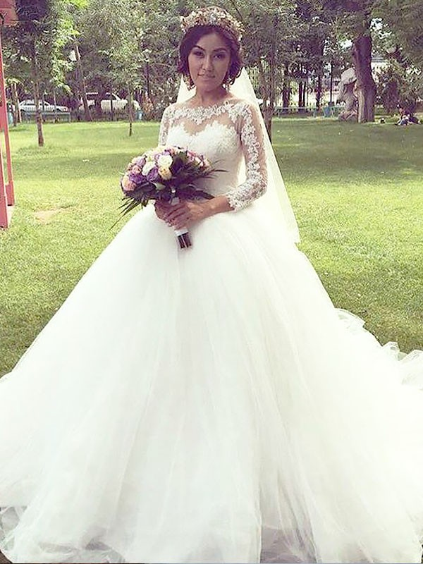 Ball Gown Tulle Long Sleeves Bateau Long Wedding Dress
