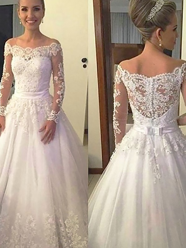 Ball Gown Long Sleeves Off-the-Shoulder Tulle Long Wedding Dress