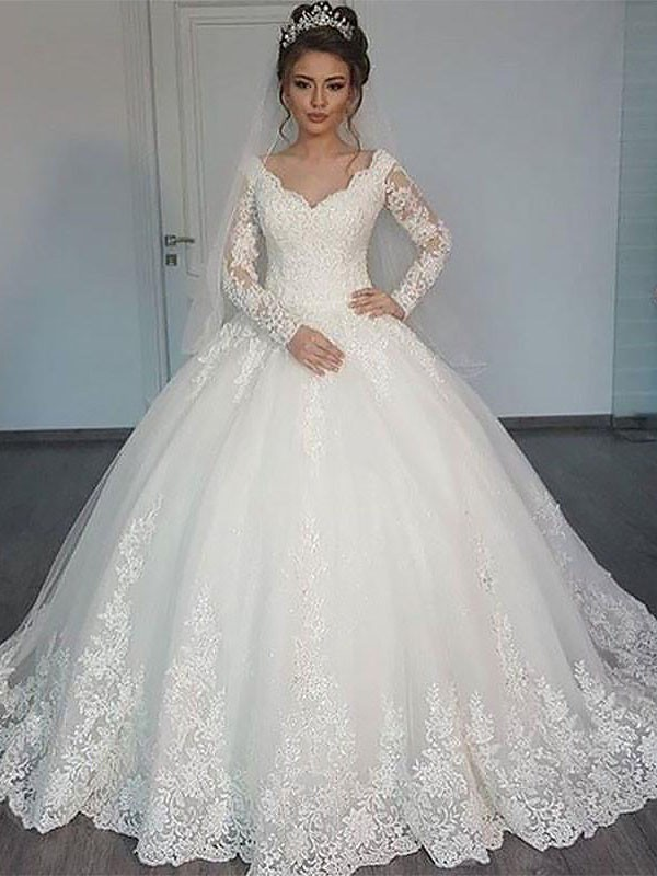 Ball Gown Long Sleeves Long V-neck Tulle Wedding Dress