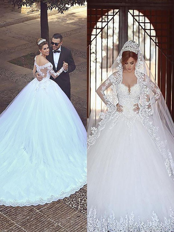 Ball Gown Tulle Long Sleeves Off-the-Shoulder Long Wedding Dress