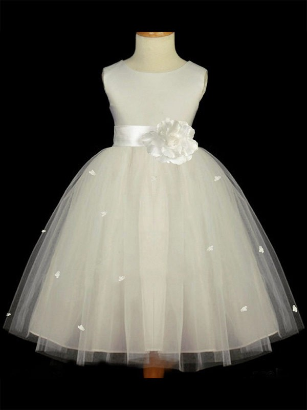A-Line/Princess Scoop Ankle-length Tulle Flower Girl Dress
