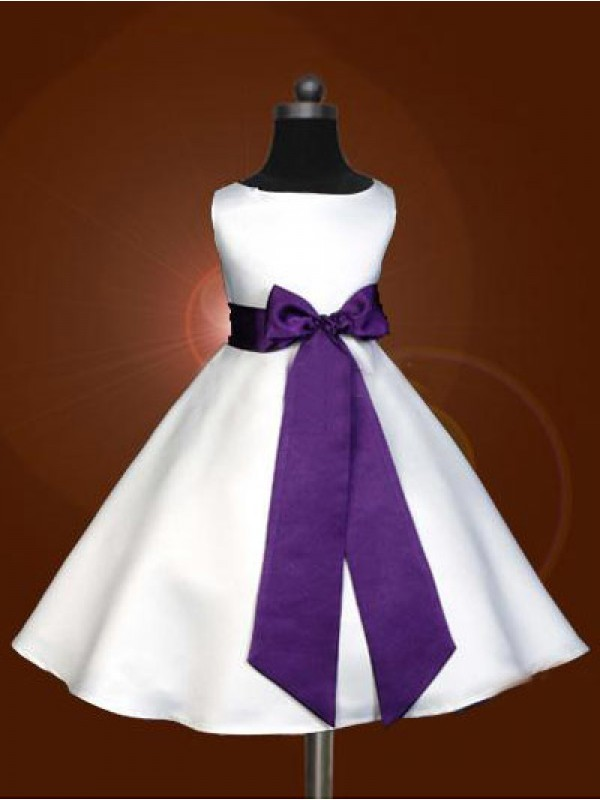 A-Line/Princess Scoop Ankle-length Satin Flower Girl Dress