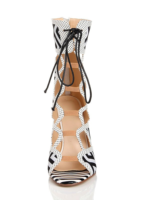 New Stiletto Heel Lace Up Peep Toe Flock Sandal Mid-Calf Boots