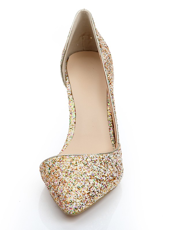 New Patent Leather Closed Toe Stiletto Heel Sequins High Heels