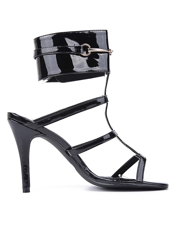 New Patent Leather Peep Toe Stiletto Heel Sandals Shoes