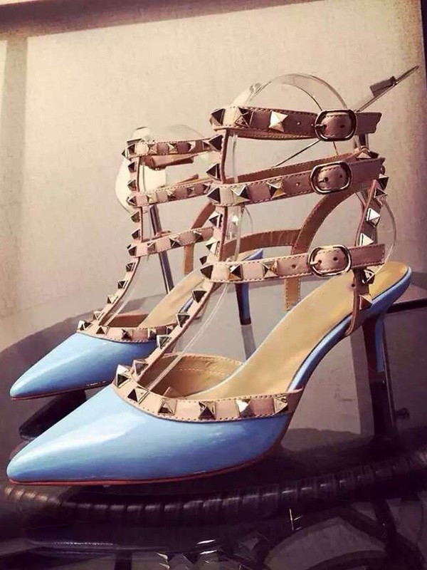 New Patent Leather Closed Toe Stiletto Heel Rivet Party Sandals Shoes