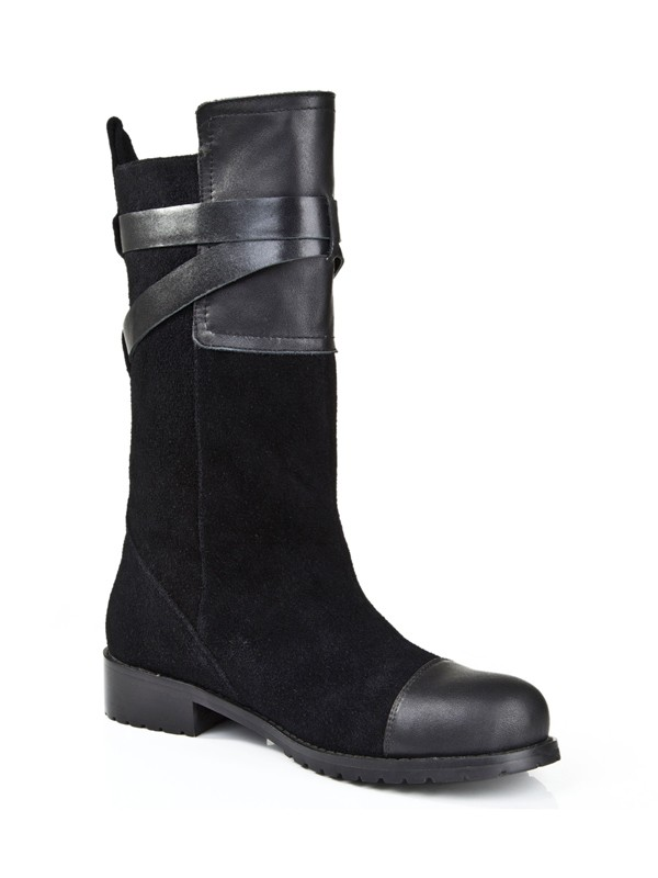New Suede Kitten Heel Closed Toe Buckle Mid-Calf Boots