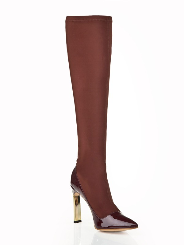 New Stiletto Heel Elastic Leather Knee High Chocolate Boots