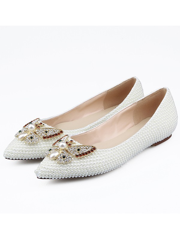 New Patent Leather Closed Toe Rhinestones Flat Shoes
