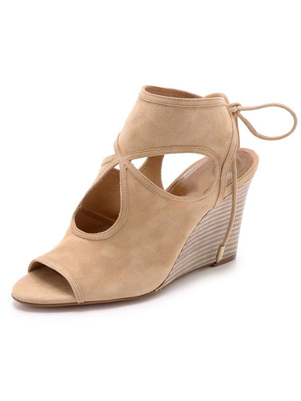 New Peep Toe Suede Wedge Heel Lace-up Sandal Ankle Boots