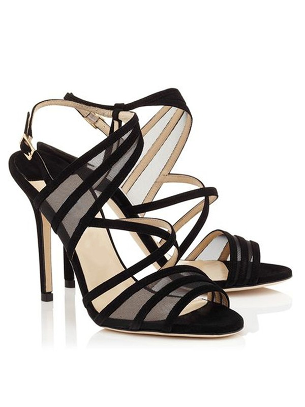 New Stiletto Heel Suede Peep Toe Buckle Sandals Shoes