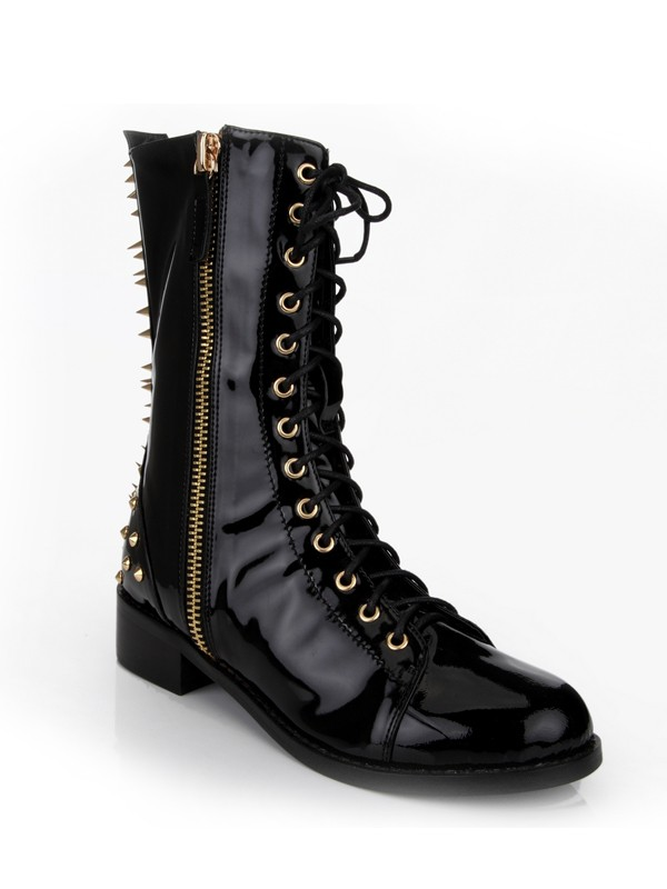 New Kitten Heel Closed Toe Patent Leather Rivet Mid-Calf Boots