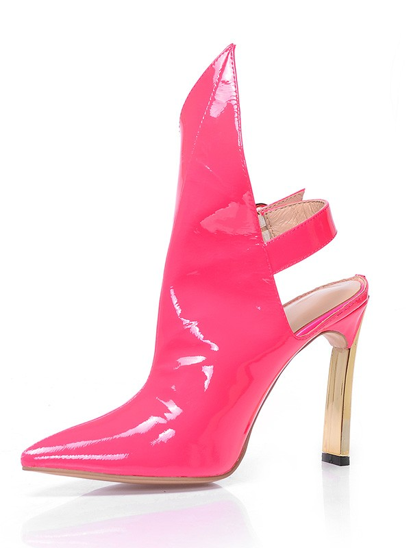 New Patent Leather Closed Toe Stiletto Heel Buckle Ankle Boots
