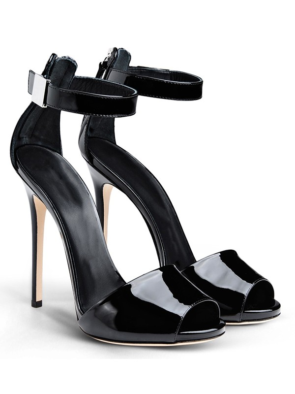 New Patent Leather Peep Toe Stiletto Heel Buckle Sandals Shoes