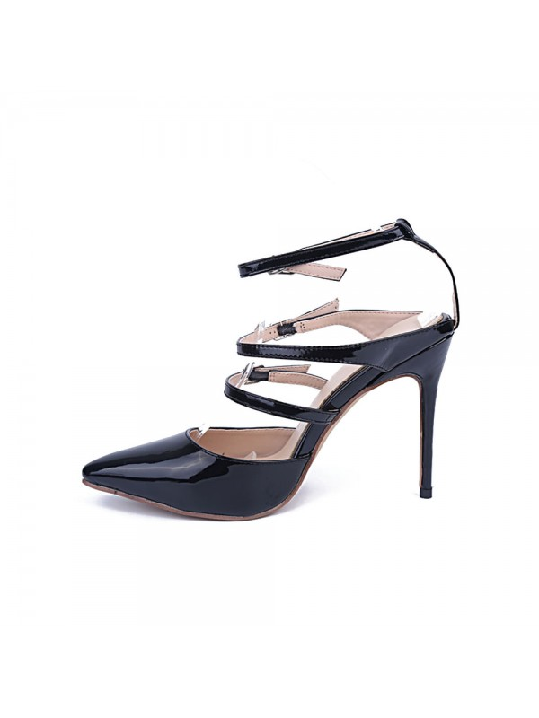 New Patent Leather Closed Toe Stiletto Heel Buckle Party Sandals Shoes