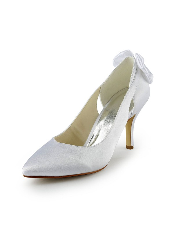 New Satin Stiletto Heel Pumps Hollow-out Wedding Shoes