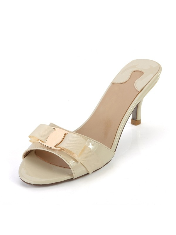 New Peep Toe Patent Leather Cone Heel Sandals Shoes