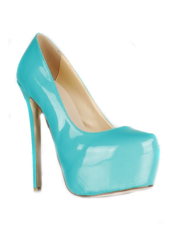 New Patent Leather Stiletto Heel Closed Toe Platform High Heels