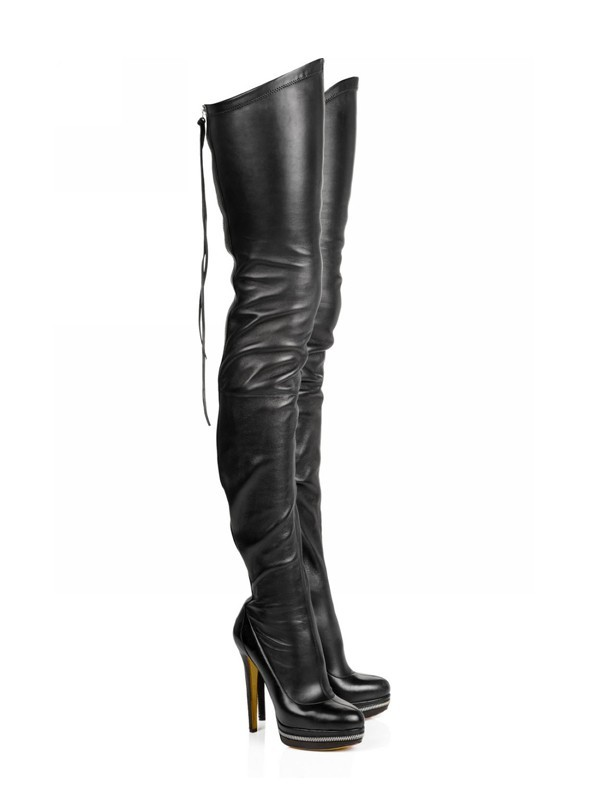 New Elastic Leather Stiletto Heel Platform Over The Knee Boots
