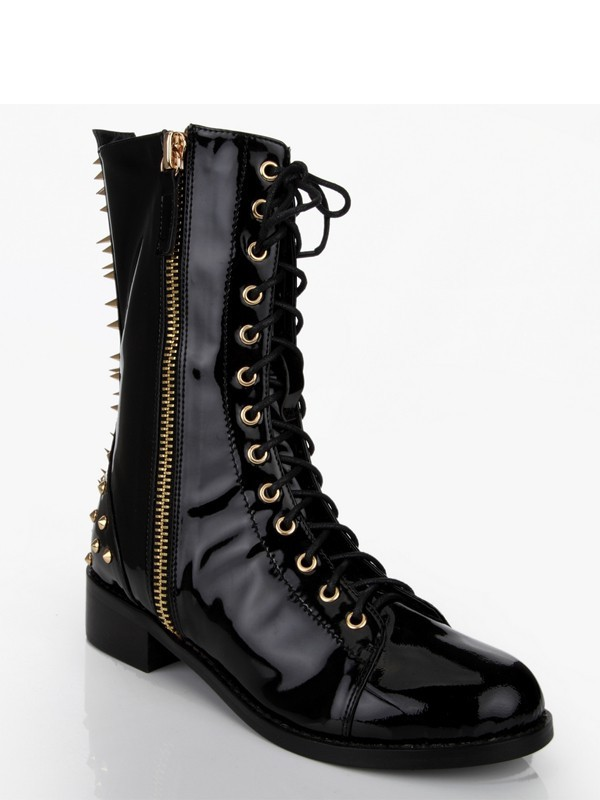 New Patent Leather Chunky Heel Rivet Mid-Calf Boots