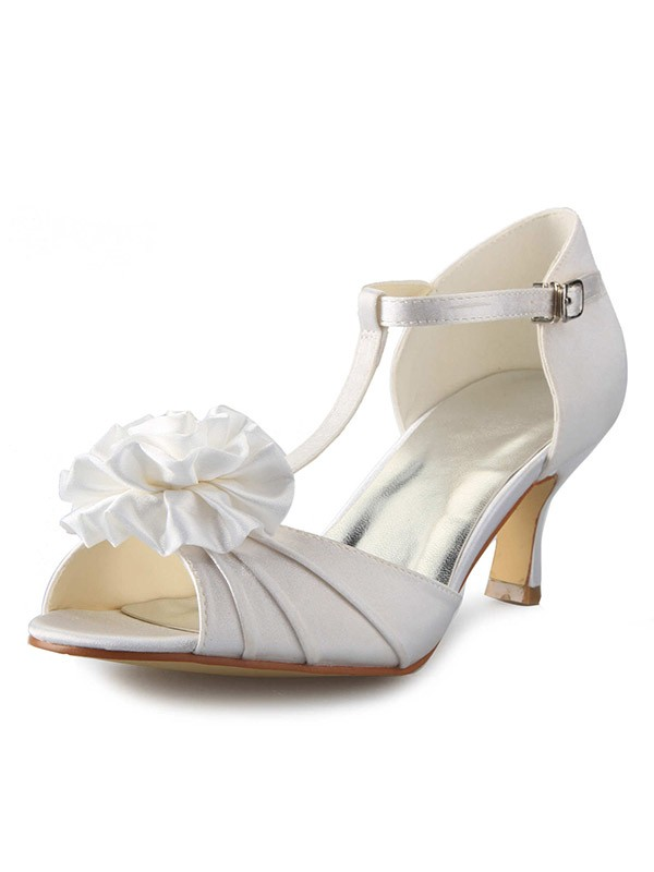 New Satin Stiletto Heel T-Strap Peep Toe Flower Dance Shoes