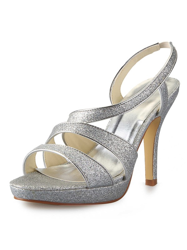 New Cone Heel Platform Satin Peep Toe Sparkling Glitter Sandals Shoes