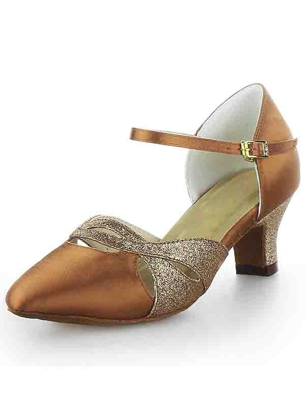 New Satin Closed Toe Chunky Heel Buckle Sparkling Glitter Dance Shoes