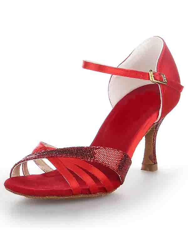New Stiletto Heel Satin Peep Toe Buckle Dance Shoes