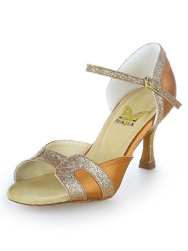 New Stiletto Heel Satin Peep Toe Sparkling Glitter Dance Shoes
