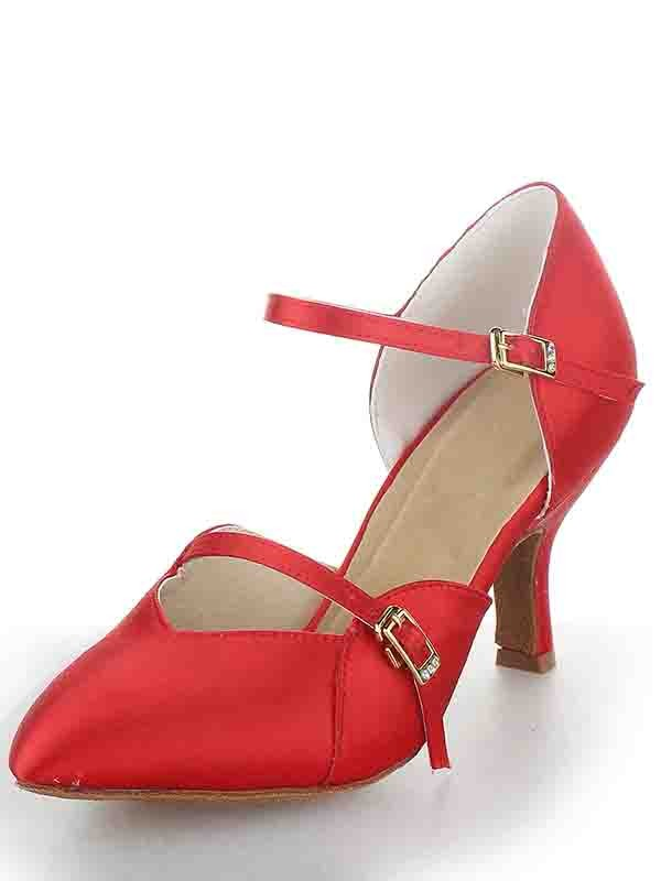 New Stiletto Heel Satin Closed Toe Buckle Dance Shoes