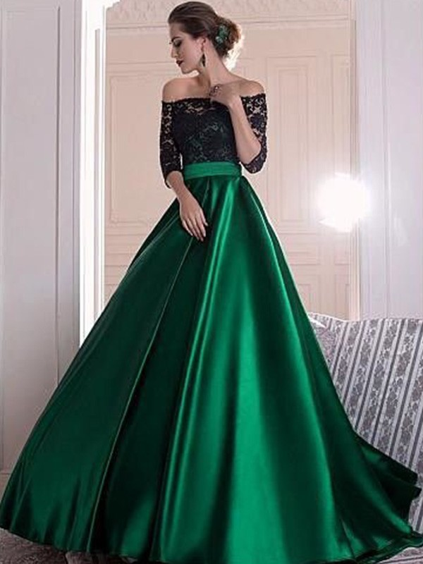 A-Line/Princess Off-the-Shoulder 3/4 Sleeves Lace Long Satin Dress