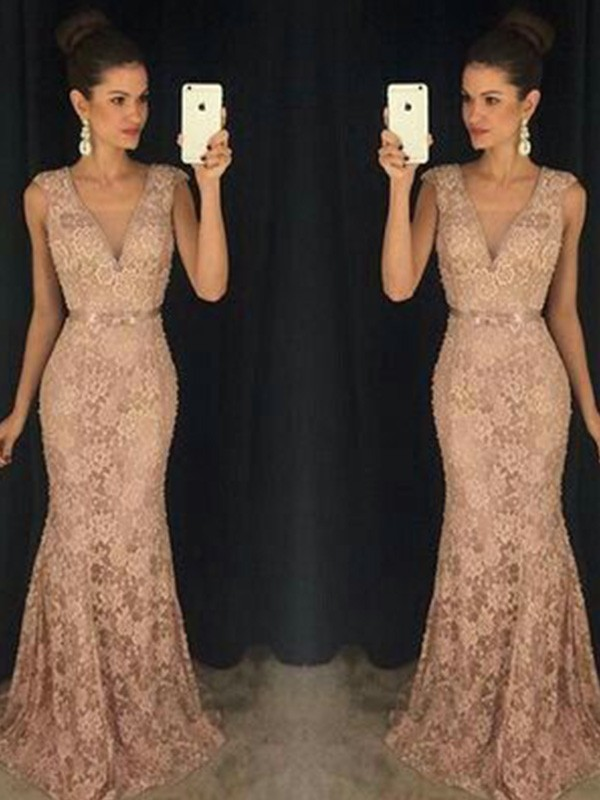 Mermaid V-neck Lace Long Dress