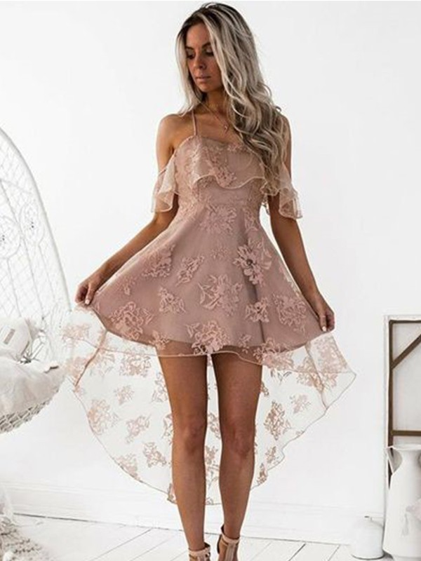 A-Line/Princess Off-the-Shoulder Satin Short Dress