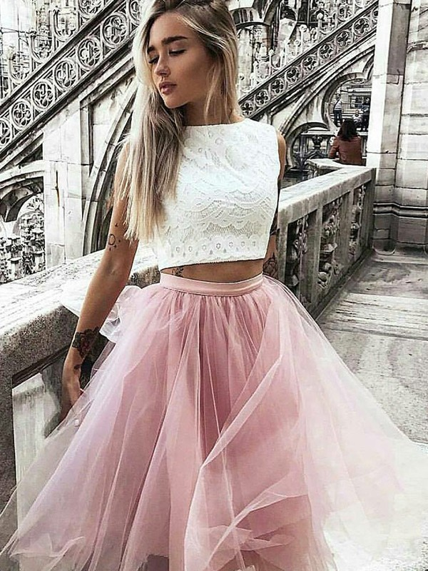 A-Line/Princess Tulle Bateau Lace Short Two Piece Dress
