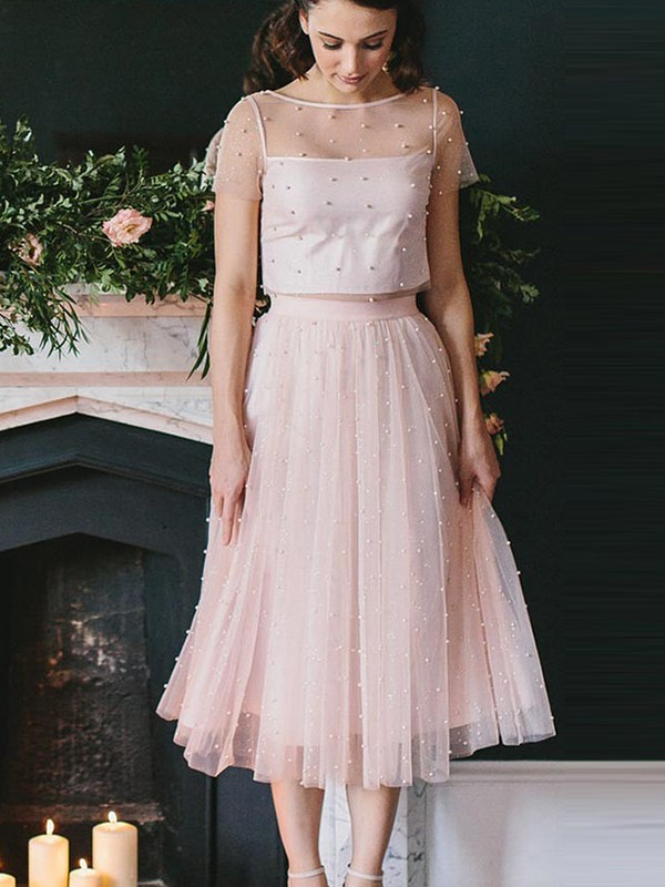 A-Line/Princess Tulle Short Sleeves Scoop Tea-Length Two Piece Dress