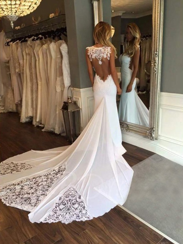 Mermaid Sweetheart Long Lace Wedding Dress