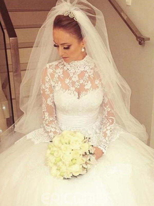 Ball Gown Long Sleeves High Neck Long Lace Wedding Dress
