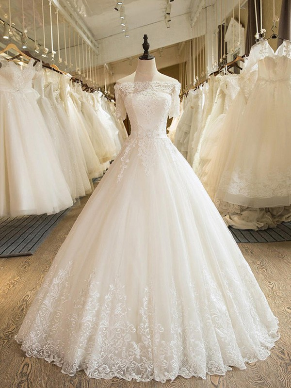 Ball Gown 1/2 Sleeves Off-the-Shoulder Long Tulle Wedding Dress