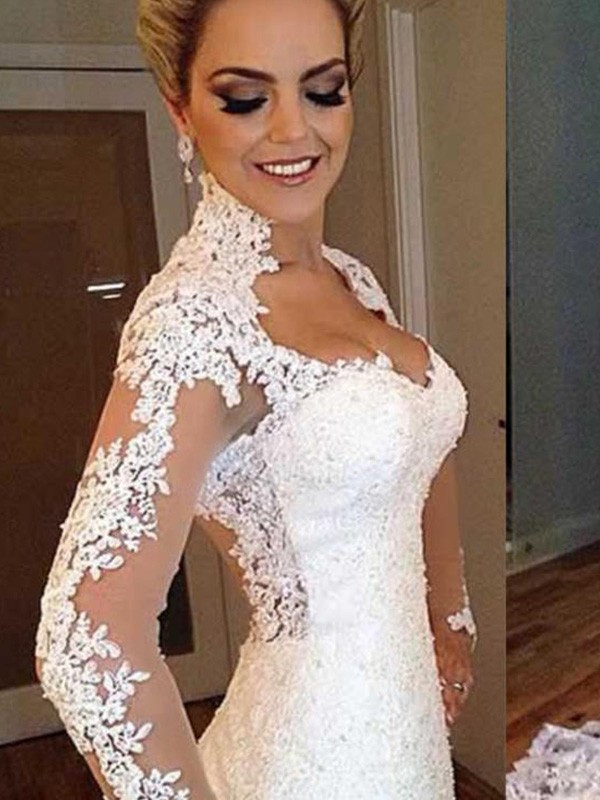 Mermaid Long Sleeves V-neck Long Lace Wedding Dress