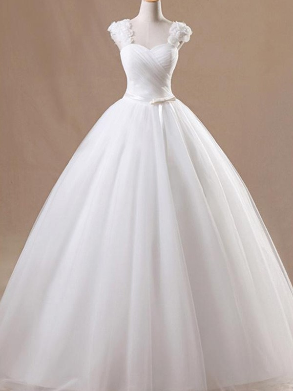 Ball Gown Square Long Tulle Wedding Dress