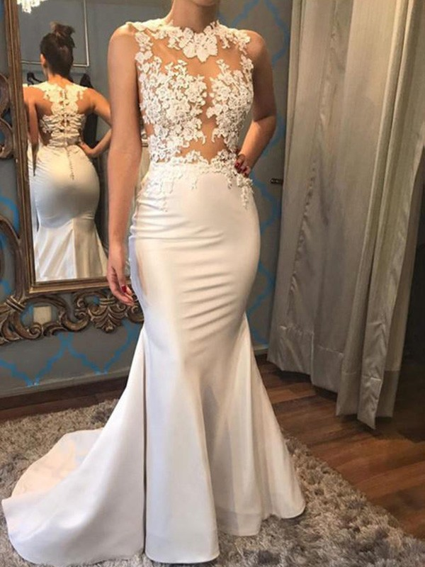 Mermaid Scoop Long Satin Wedding Dress