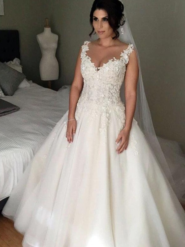 Ball Gown V-neck Long Tulle Wedding Dress