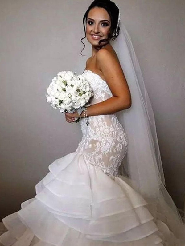 Mermaid Sweetheart Long Lace Organza Wedding Dress