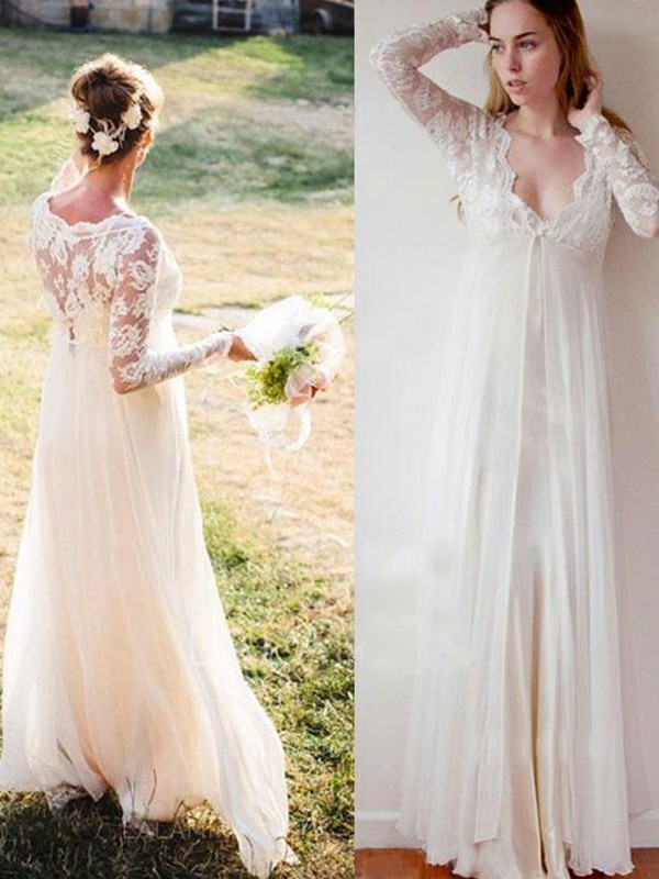 Empire V-neck Chiffon Lace Long Sleeves Long Wedding Dress