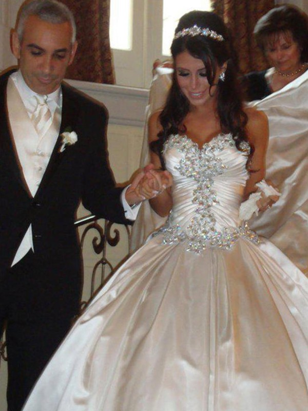Ball Gown Satin Sweetheart Long Wedding Dress