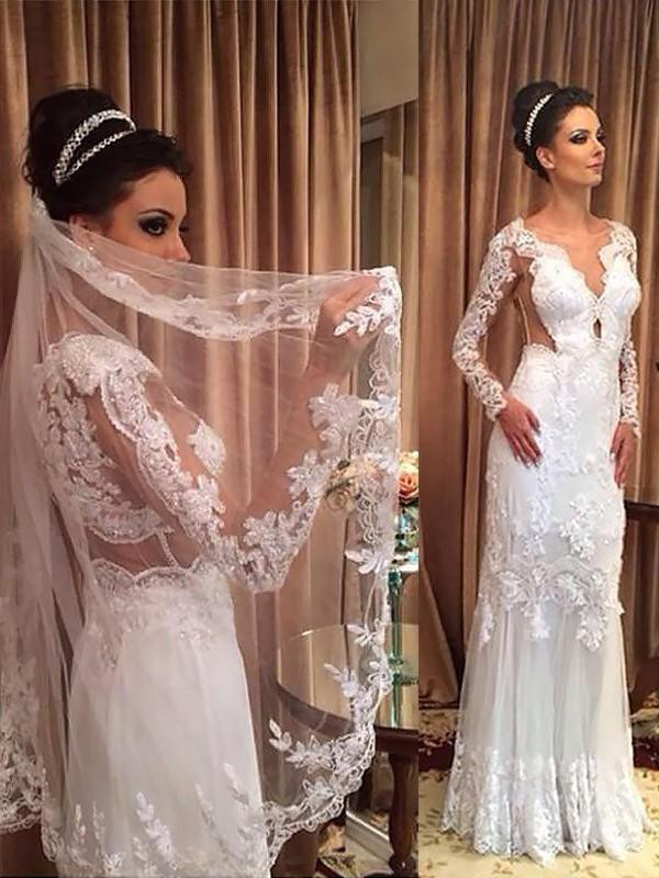 Sheath/Column V-neck Tulle Long Sleeves Long Wedding Dress