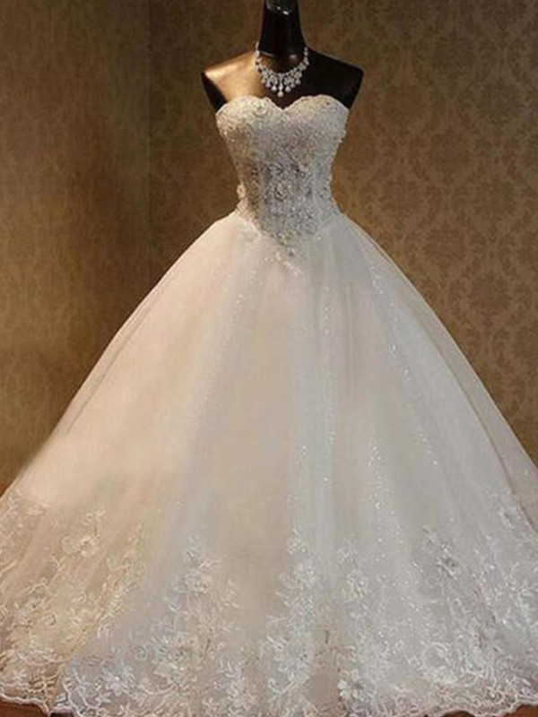 Ball Gown Tulle Sweetheart Long Wedding Dress