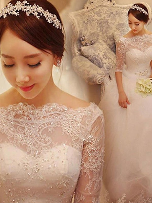 Ball Gown Tulle 1/2 Sleeves Off-the-Shoulder Long Wedding Dress